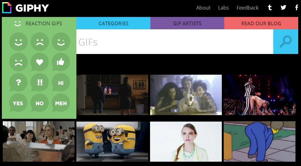 giphy-screenshot Vous recherchez un GIF animé ? Giphy est là pour vous !