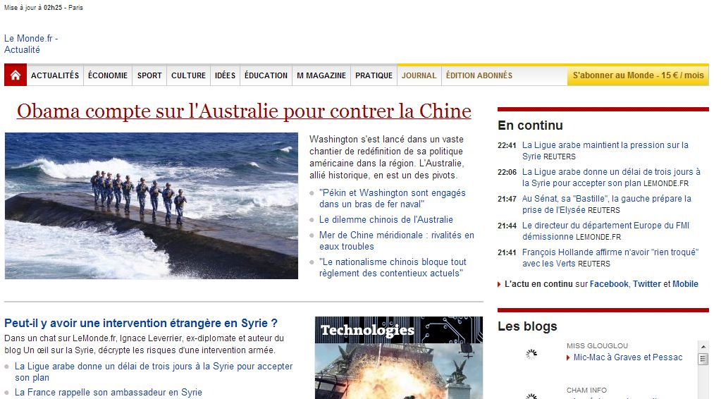 wayback-une-monde.fr-17novembre2011 Wayback Machine : la machine à remonter le temps des sites Internet