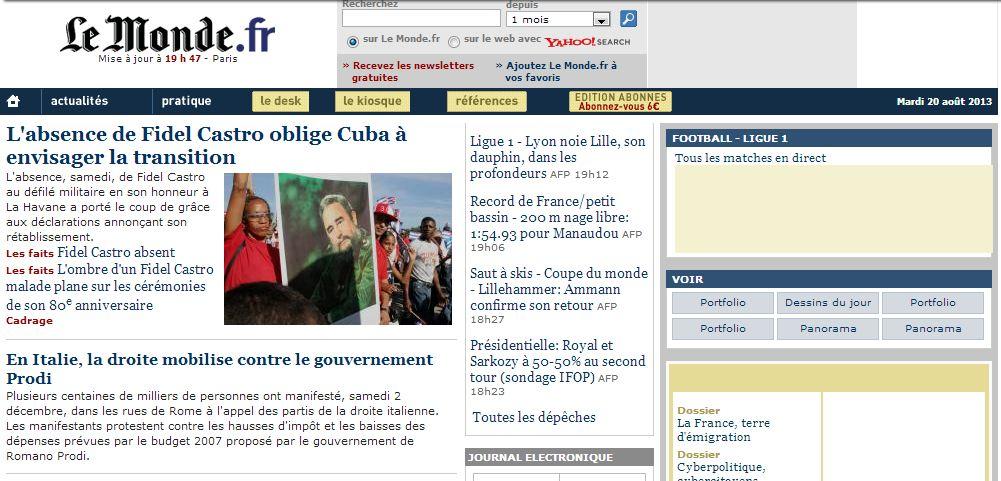 wayback-une-monde.fr-2decembrel2006 Wayback Machine : la machine à remonter le temps des sites Internet