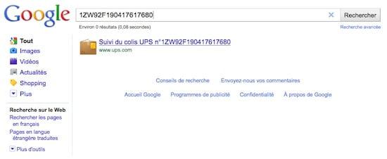 Colis-UPS Utiliser les fonctions cachées de Google !