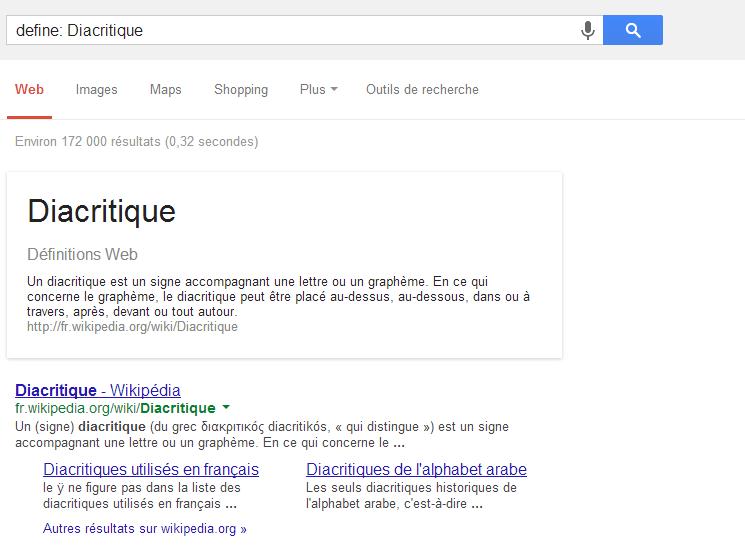 Définition Utiliser les fonctions cachées de Google !