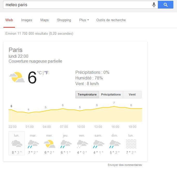 Meteo Utiliser les fonctions cachées de Google !