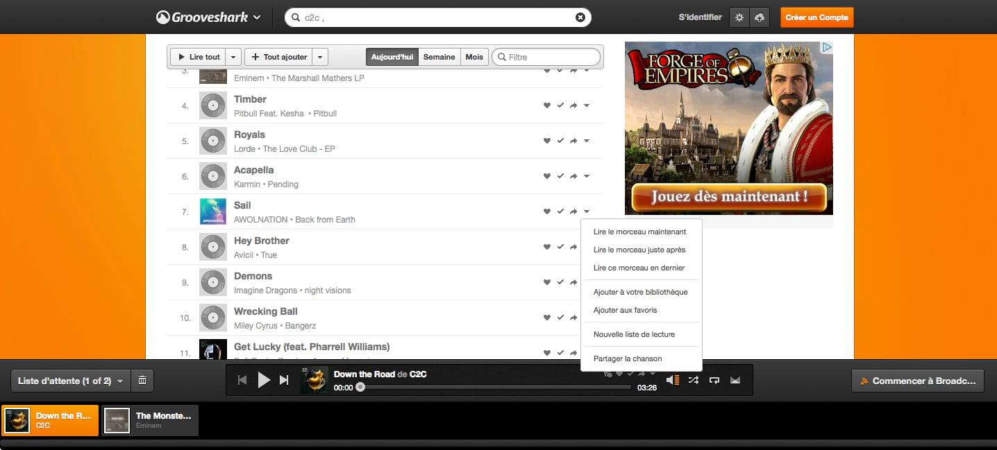 option Grooveshark, une alternative à Deezer et Spotify