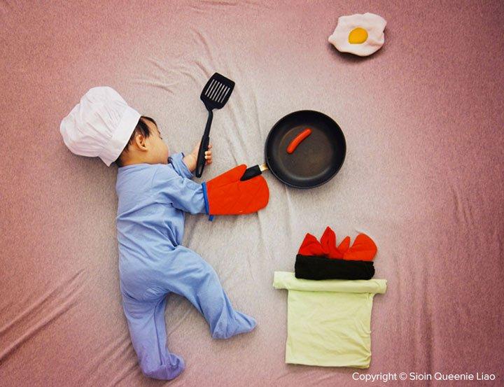 preparing-a-hearty-breakfast Photo : des siestes de bébés mises en scène !