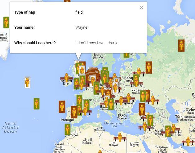 google-naps-map Google Naps : une parodie pour trouver les bons coins de sieste !