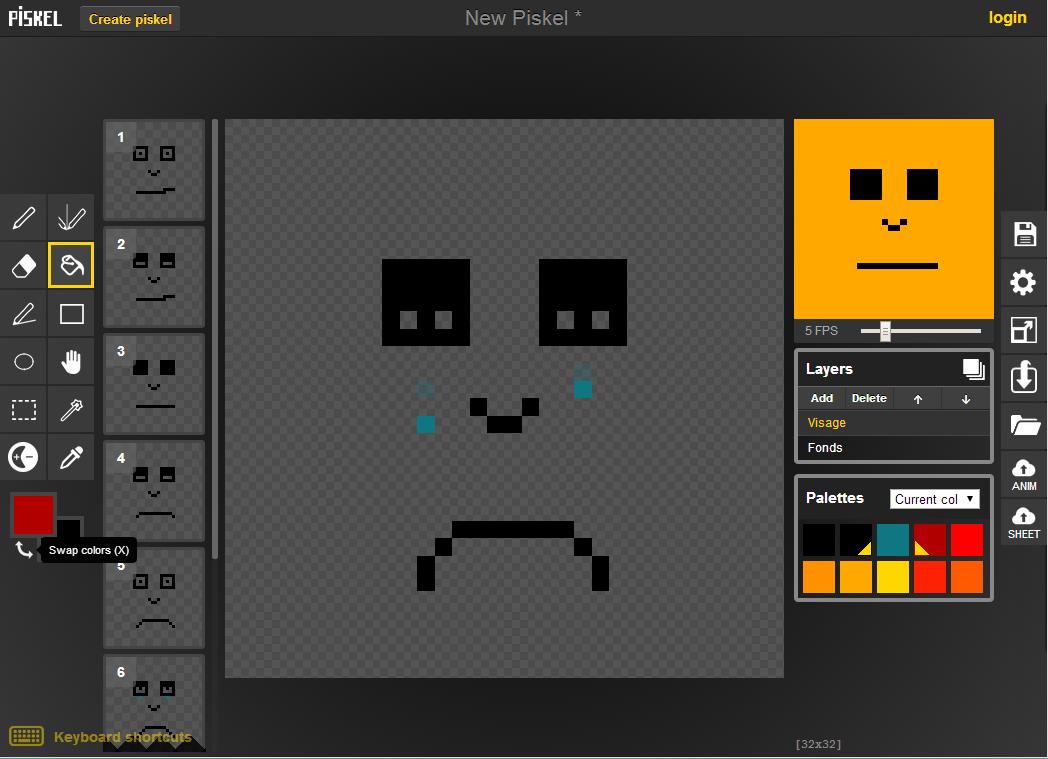 piskel-espace-travail Piskel va vous permettre de réaliser vos propres animations en pixels
