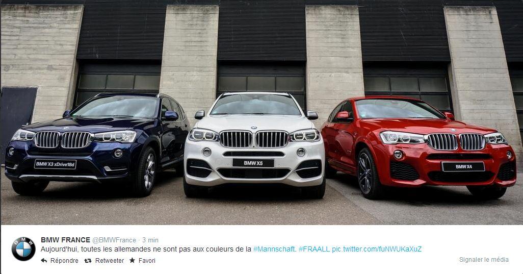 bmw-bleu-blanc-rouge Humour : quand les marques soutiennent l'Equipe de France de foot