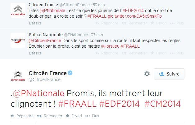 citroen-police-nationale Humour : quand les marques soutiennent l'Equipe de France de foot