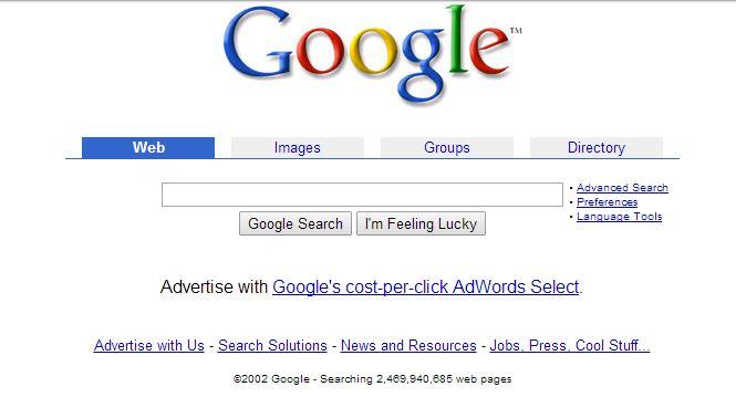 google-aout-2002 L'évolution de la page d'accueil de Google depuis 1998