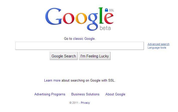 google-aout-2011 L'évolution de la page d'accueil de Google depuis 1998