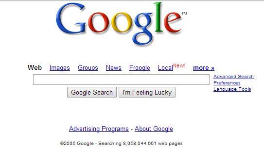google-fevrier-2005 L'évolution de la page d'accueil de Google depuis 1998