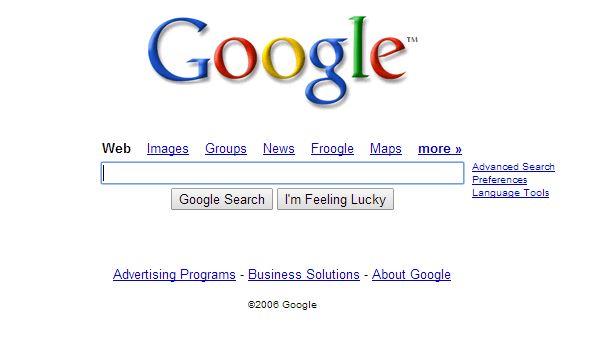 google-juillet-2006 L'évolution de la page d'accueil de Google depuis 1998