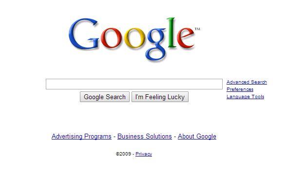 google-juillet-2009 L'évolution de la page d'accueil de Google depuis 1998