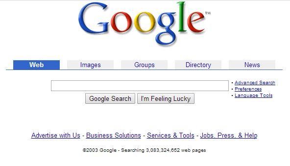 google-juin-2003 L'évolution de la page d'accueil de Google depuis 1998