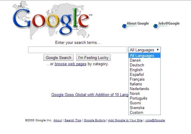 google-mai-2000 L'évolution de la page d'accueil de Google depuis 1998