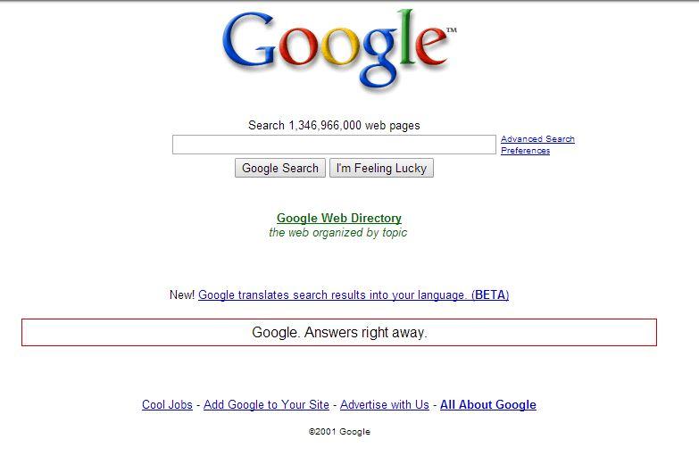 google-mars-2001 L'évolution de la page d'accueil de Google depuis 1998