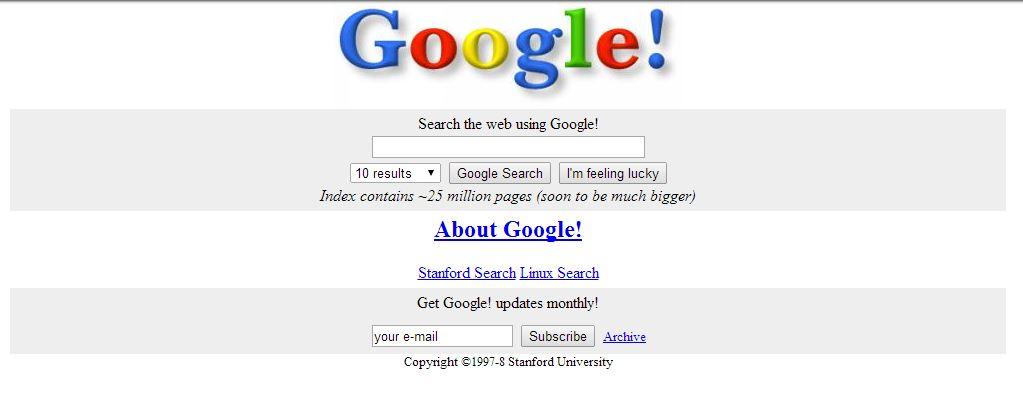 google-novembre-1998 L'évolution de la page d'accueil de Google depuis 1998