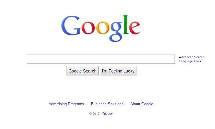 google-octobre-2010 L'évolution de la page d'accueil de Google depuis 1998