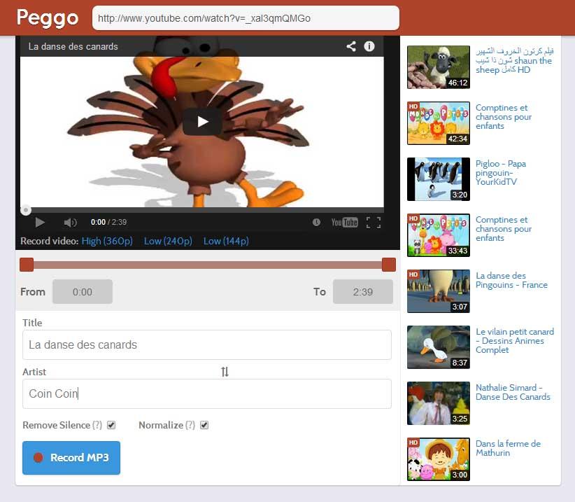 peggo-interface Peggo vous permet de télécharger en MP3 le son sur Youtube