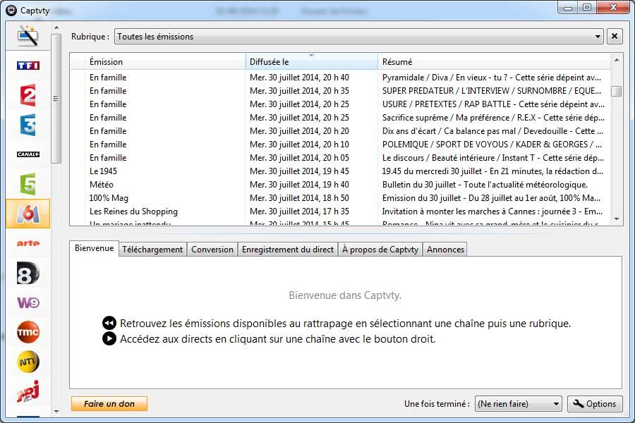 captvty-interface Captvty : Téléchargez les replay des chaînes de TV françaises