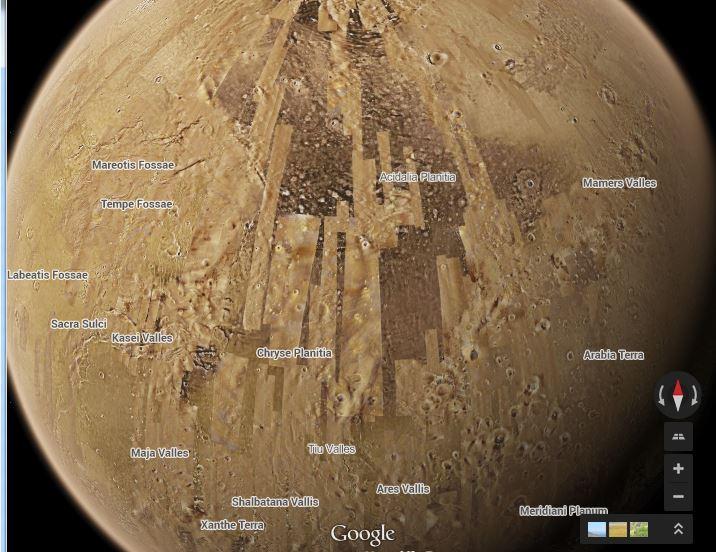 google-maps-mars La Lune et Mars désormais accessibles depuis Google Maps