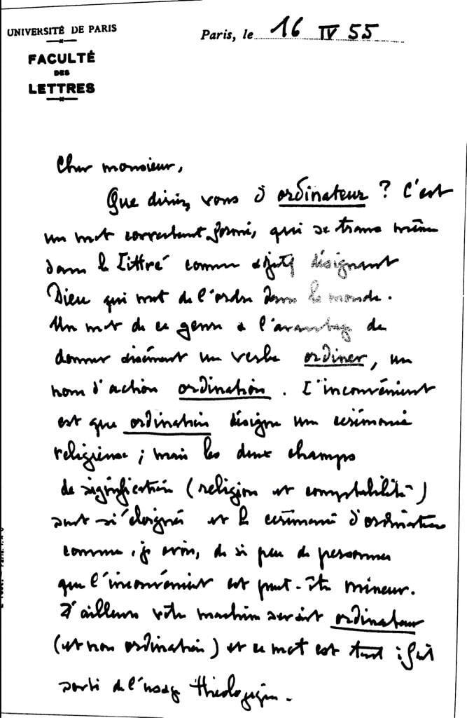 """lettre-origine-ordinateur L'image du jour : l'origine du mot """"ordinateur"""""""