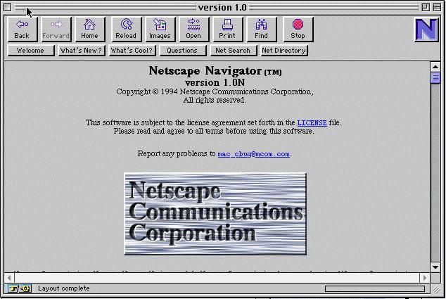netscape-1-0 Il y a 20 ans, naissait Netscape Navigator !