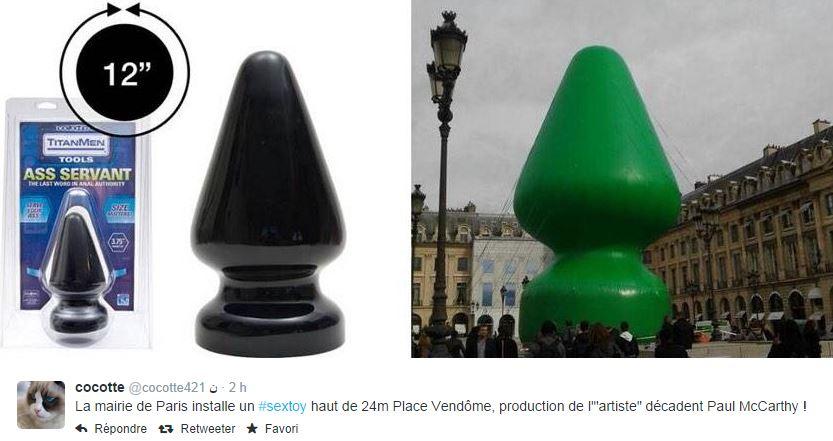 tree-vs-sextoy Sculpture ou sextoy Place Vendôme ? Les réactions du web !