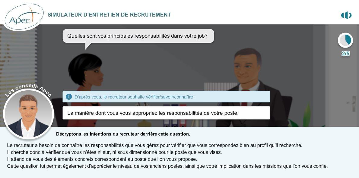 simulateur-apec-analyse-question Préparez vos entretiens d'embauche grâce au simulateur d'entretien de l'APEC