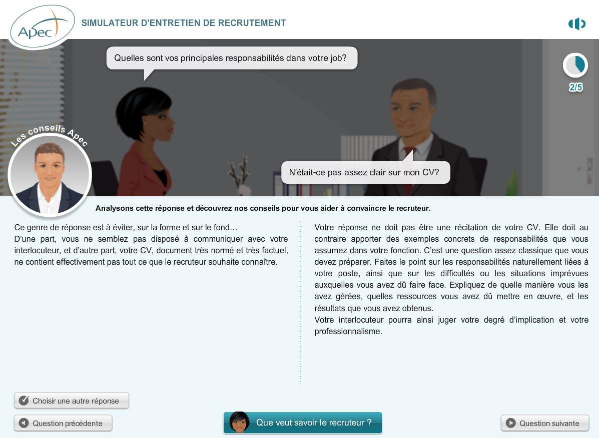 simulateur-apec-analyse-reponse Préparez vos entretiens d'embauche grâce au simulateur d'entretien de l'APEC