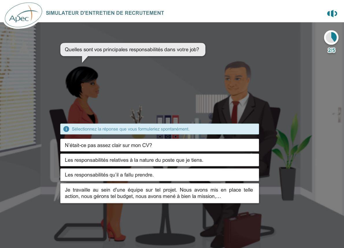 simulateur-apec-question Préparez vos entretiens d'embauche grâce au simulateur d'entretien de l'APEC