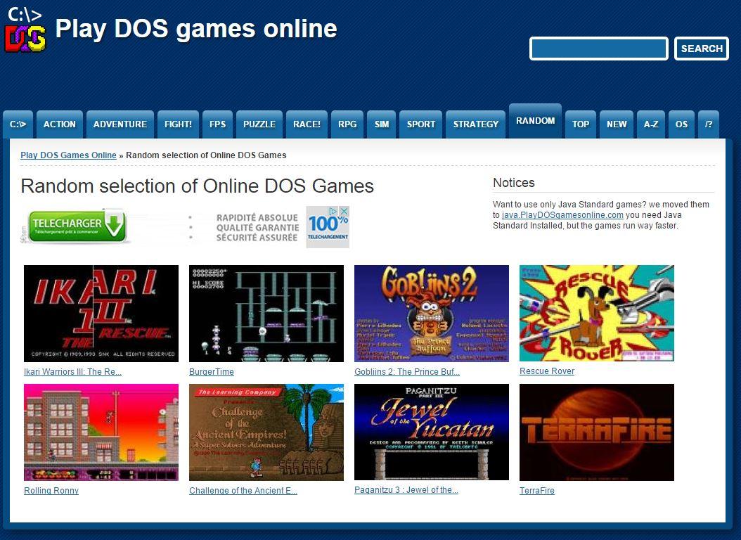 play-dos-games-online-random Plus de 1000 jeux DOS à jouer gratuitement dans votre navigateur Internet !