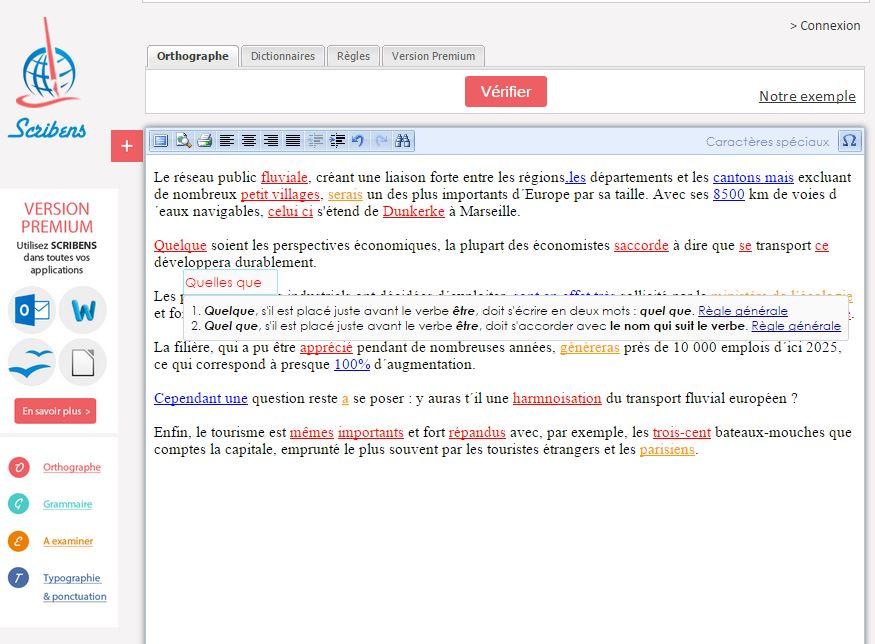 scribens-exemple Scribens.fr corrige vos fautes d'orthographe et de grammaire