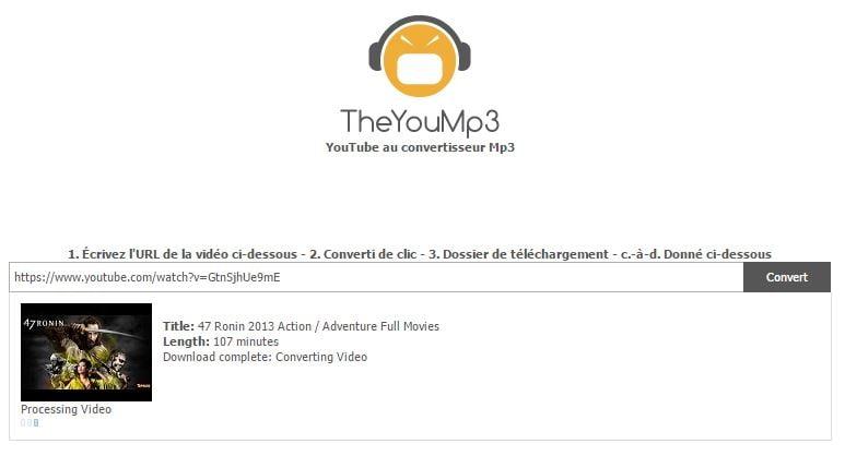 theyoump3-demo Extraire le son de n'importe quelle vidéo Youtube avec TheYouMp3