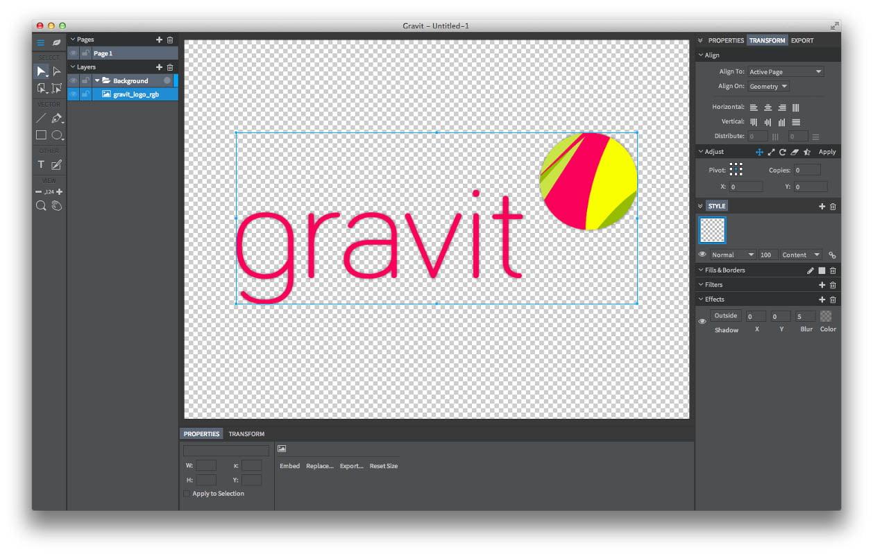 gravit-espace-travail Gravit, une alternative gratuite à Photoshop et utilisable en ligne