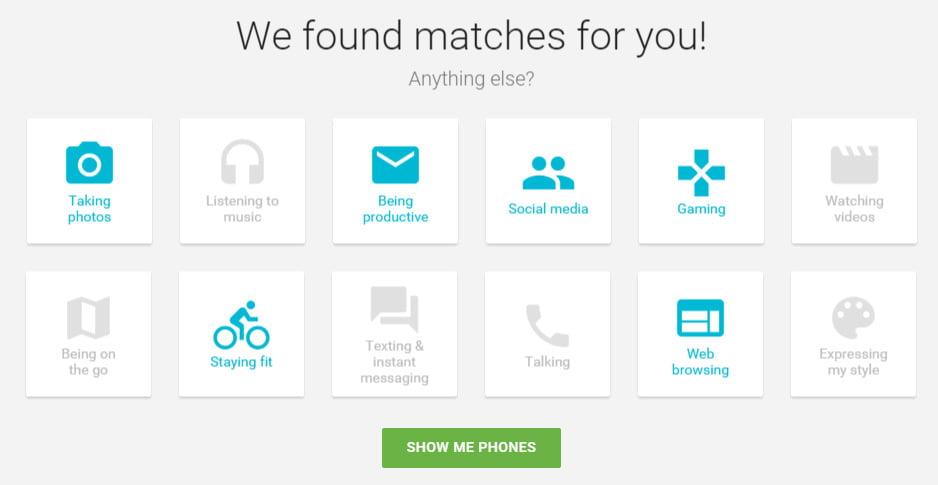 android-phones Un site web pour vous aider à choisir votre smartphone Android