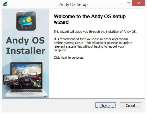 andy-etape1 Faire tourner des jeux ou des applications Android sur son ordinateur