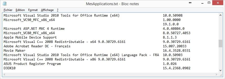 contenu-fichier-genere Récupérer la liste des applications installées sur son ordinateur
