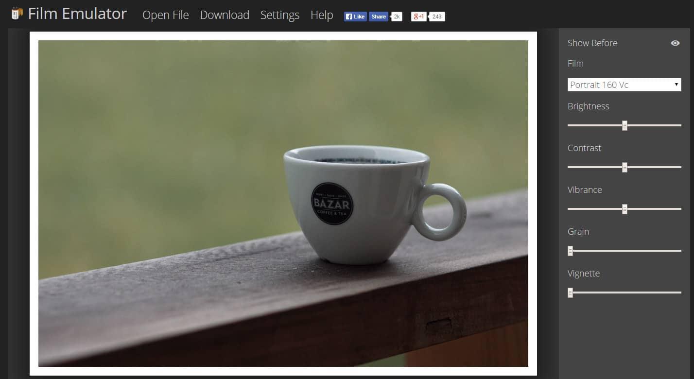 film-emulator Appliquez des filtres sur vos photos depuis le web