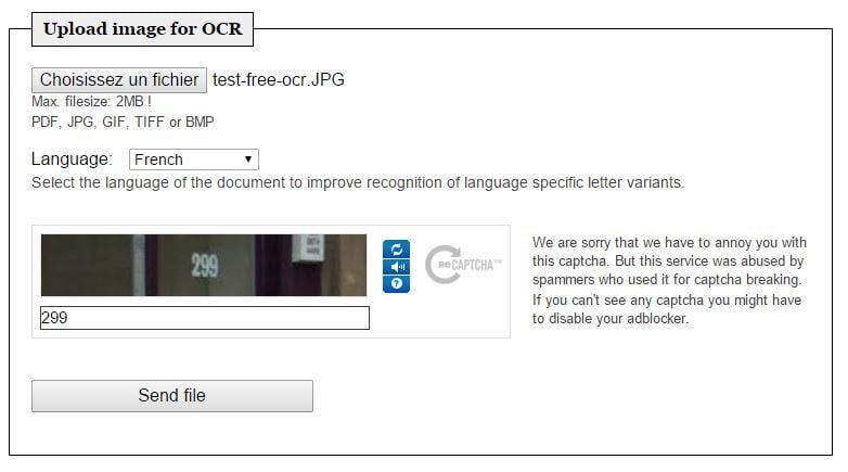 free-ocr-upload Récupérer le texte sur une image grâce à Free OCR