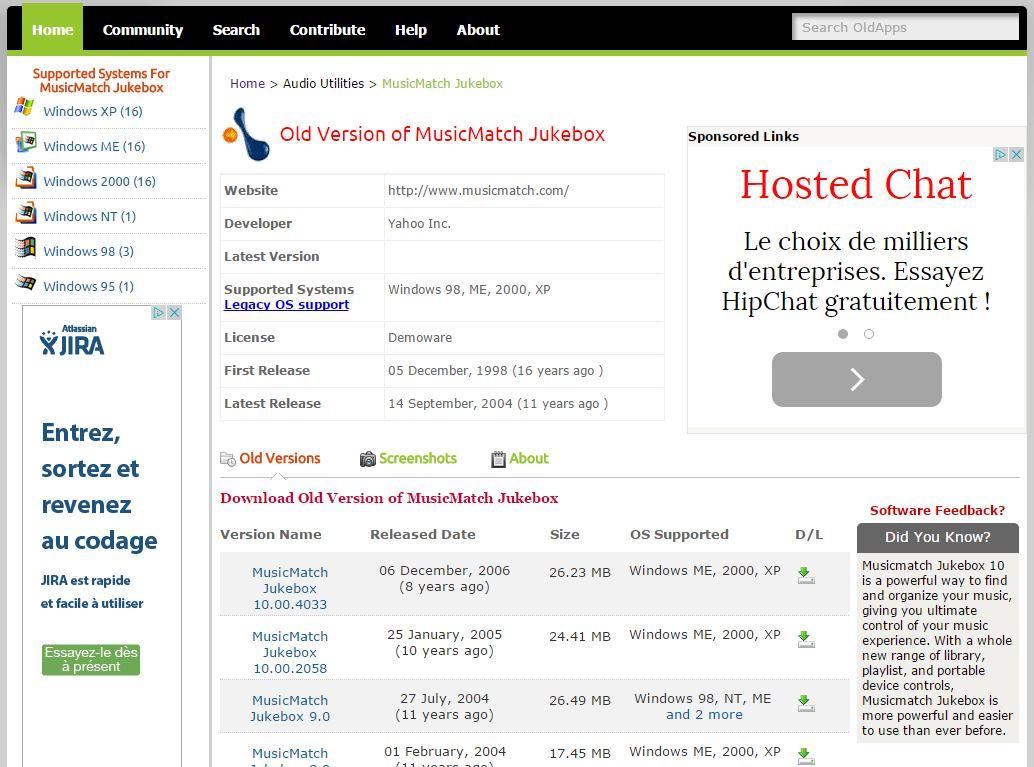 oldapps-fiche-logiciel Installer une version ancienne d'un logiciel