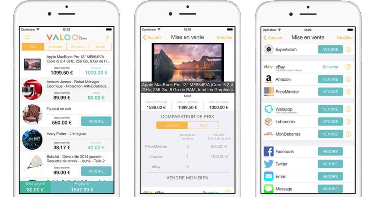 valoo-screenshots Valoo l'appli gratuite pour estimer et revendre ses biens