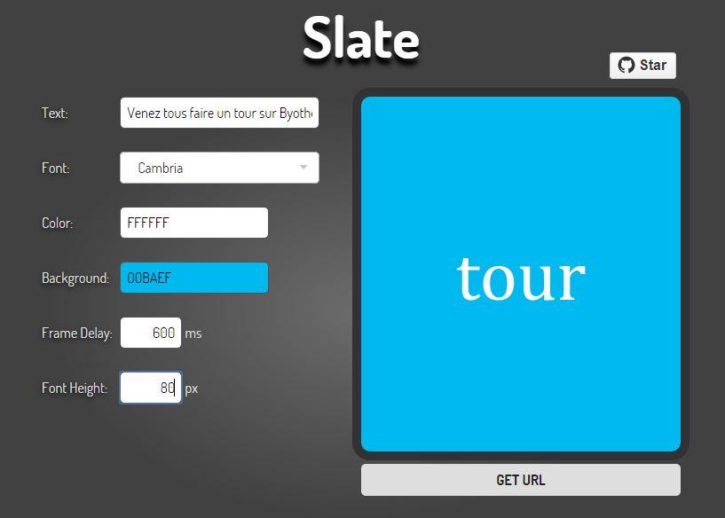 slate-gif-anime-texte Slate vous permet de faire des textes animés en Gif