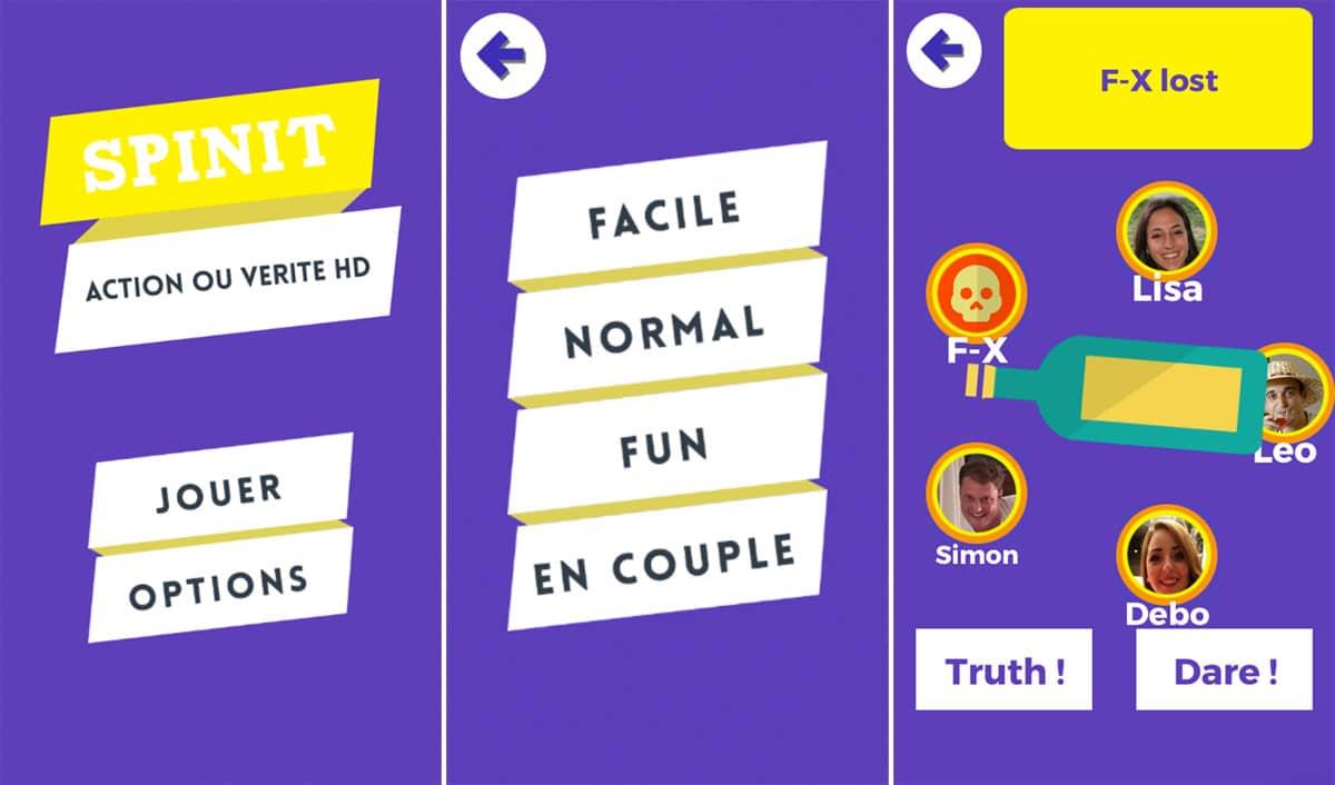 """spinit-screenshots Spin It vous fait redécouvrir les joies du jeu """"Action ou vérité"""" sur mobile !"""