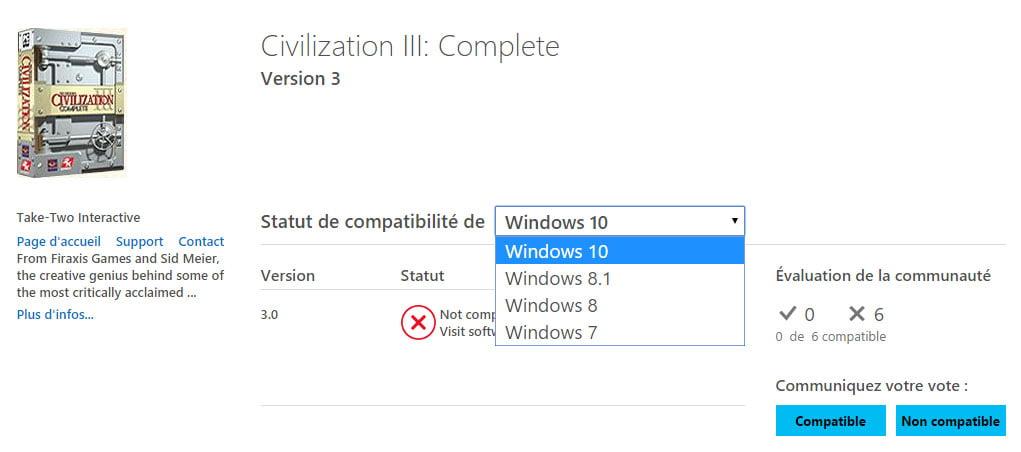 centre-de-compatibilité-civilization-detail Vérifier la compatibilité d'un jeu, programme ou matériel avec Windows 10