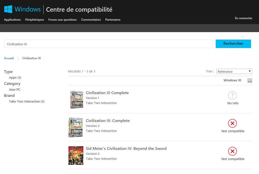 centre-de-compatibilité-civilization Vérifier la compatibilité d'un jeu, programme ou matériel avec Windows 10