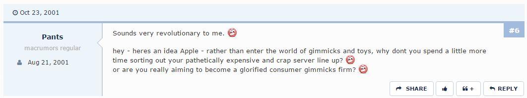 commentaire-ipod2 Retour sur les réactions négatives des forums au moment du lancement du premier iPod