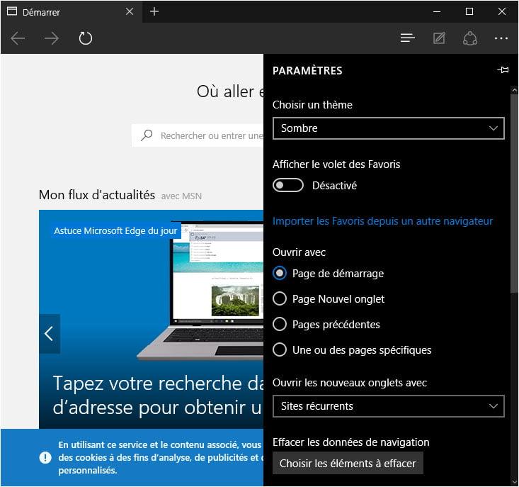edge-theme-sombre Activer le thème sombre caché de Windows 10