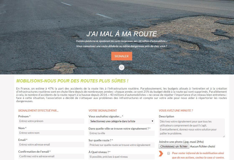 mal-a-ma-route Marre des nids-de-poule dans votre rue ? Il y a un site web pour ça !