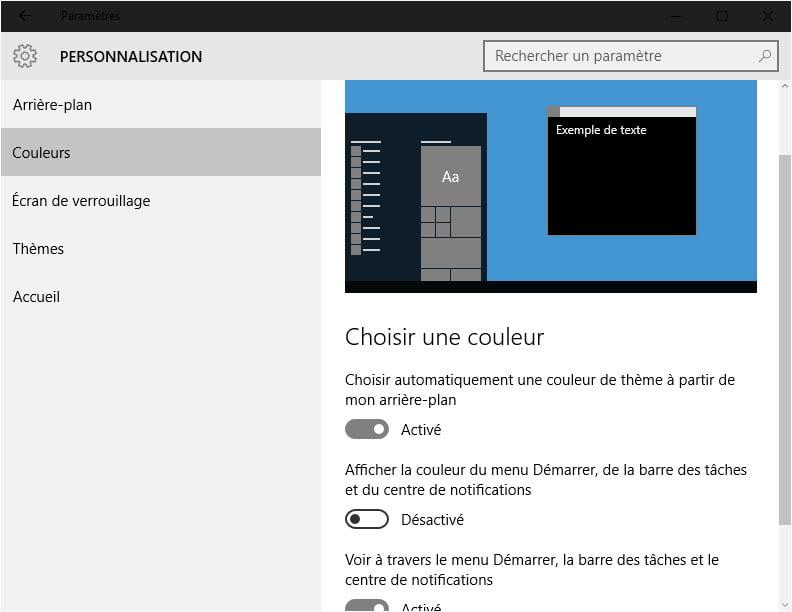 parametres-couleurs-clair Activer le thème sombre caché de Windows 10